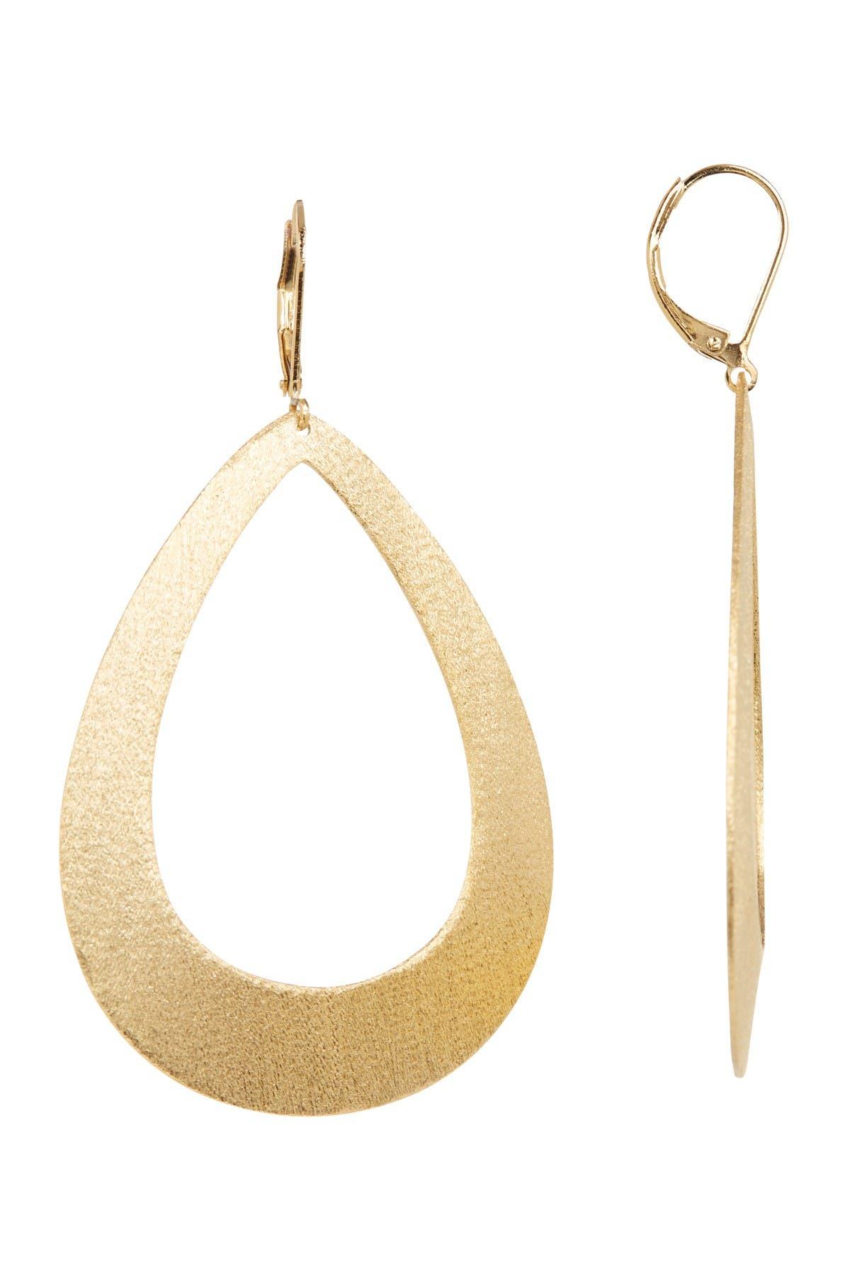 Image of Rivka Friedman 18K Gold Plated Open Teardrop Satin Dangle Earrings