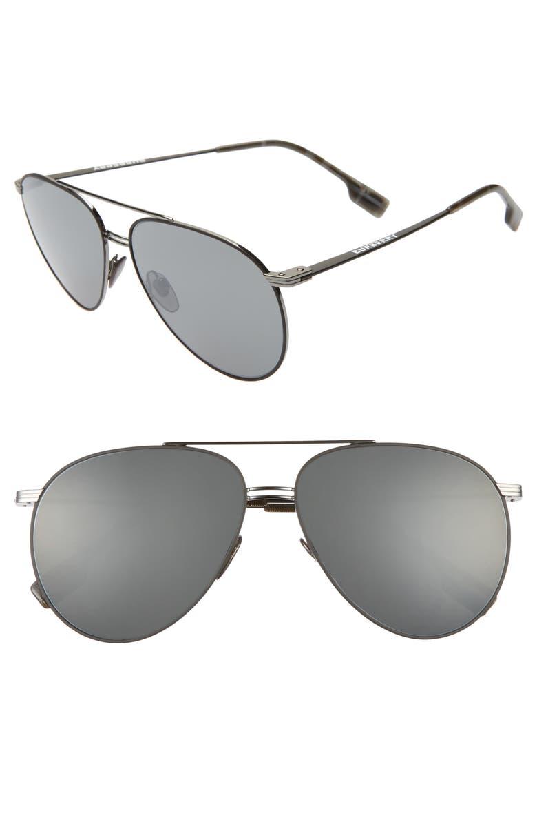 BURBERRY 60mm Oversize Aviator Sunglasses, Main, color, GUNMETAL/ BLACK MIRROR