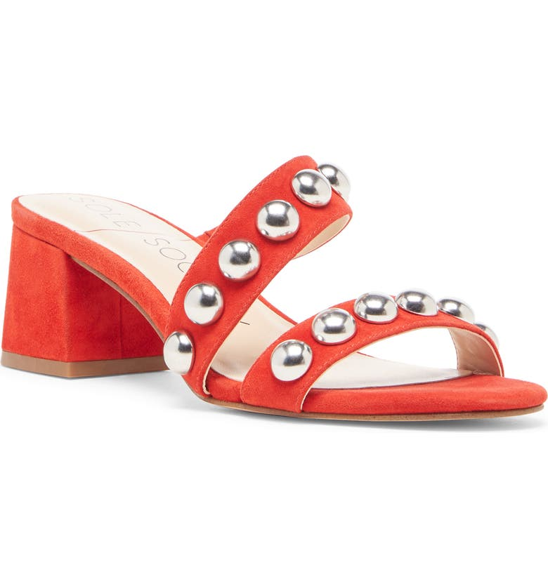 SOLE SOCIETY Sasandrah Slide Sandal, Main, color, BRIGHT RED SUEDE