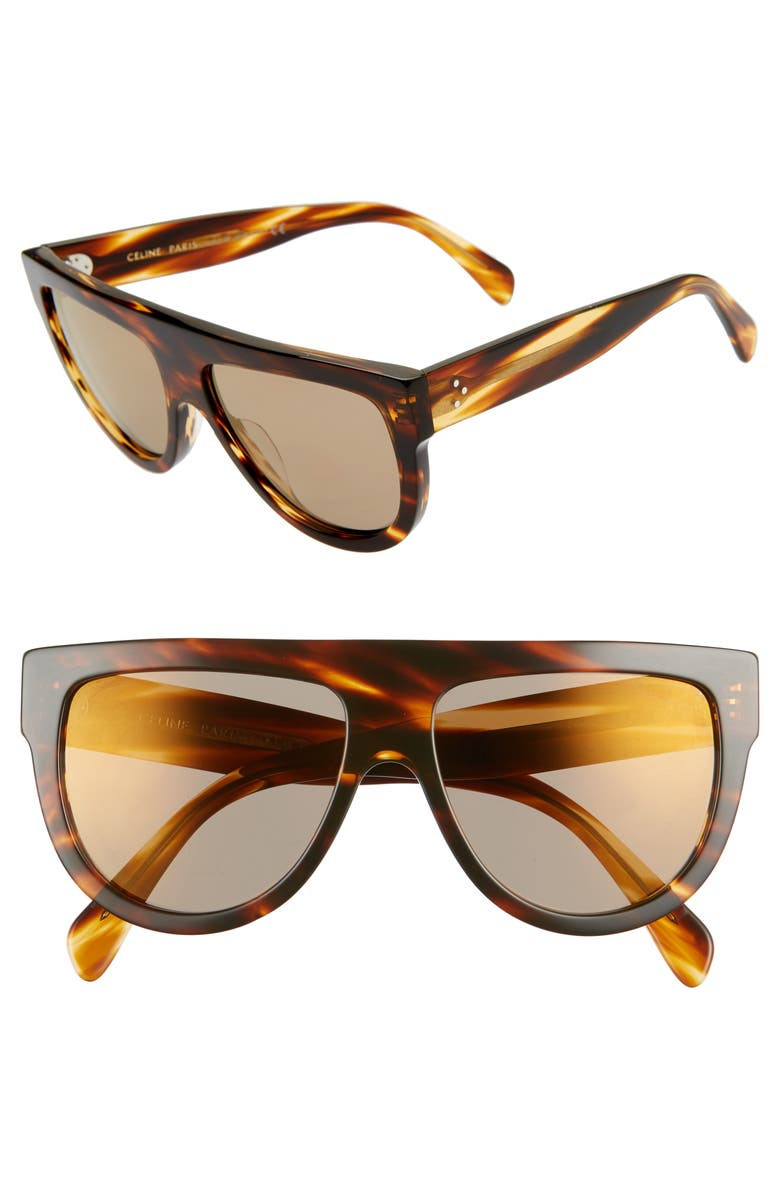 CELINE Céline 58mm Universal Fit Flat Top Sunglasses, Main, color, BLONDE HAVANA/ BROWN MIRROR