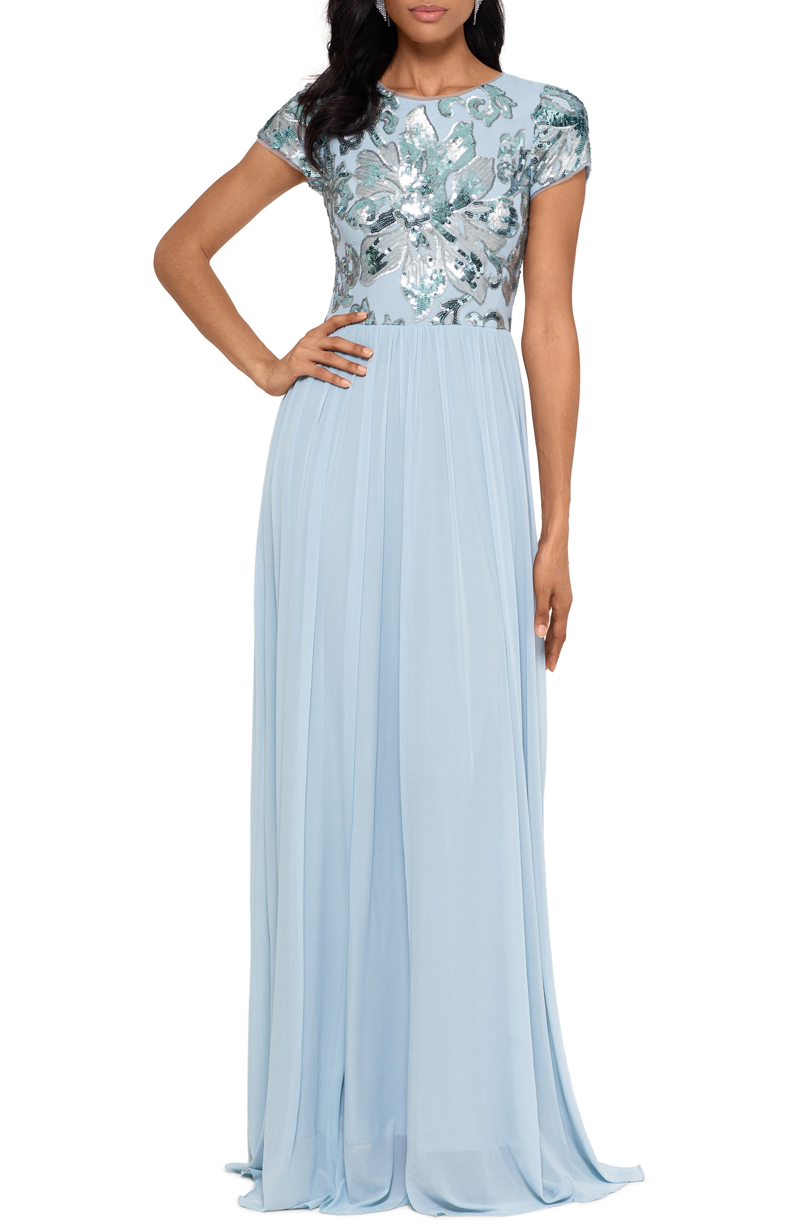 Sequin Mesh A-Line Gown
