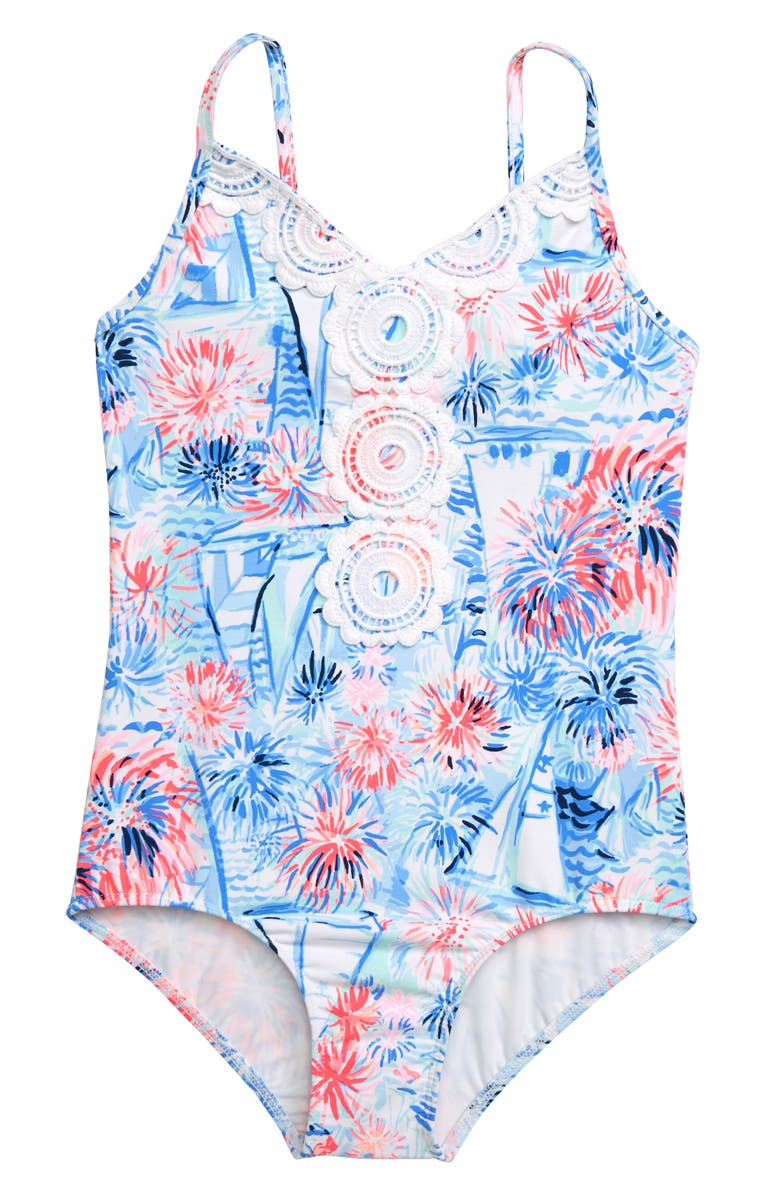 LILLY PULITZER<SUP>®</SUP> Danica One-Piece Swimsuit, Main, color, CREW BLUE TINT SEA