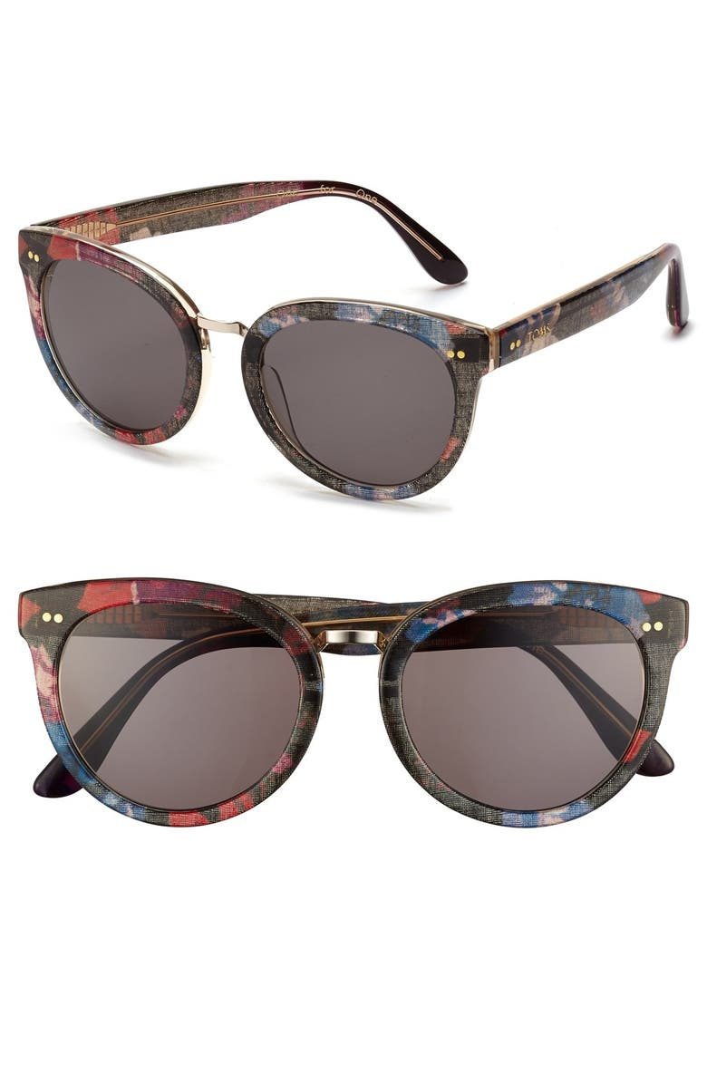 TOMS 'Yvette' 52mm Sunglasses, Main, color, 001