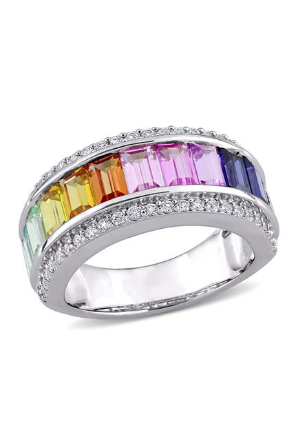 Image of Delmar Sterling Silver Channel Set Baguette Cut Multi Color Created Sapphire & Pave Trim Band Ring