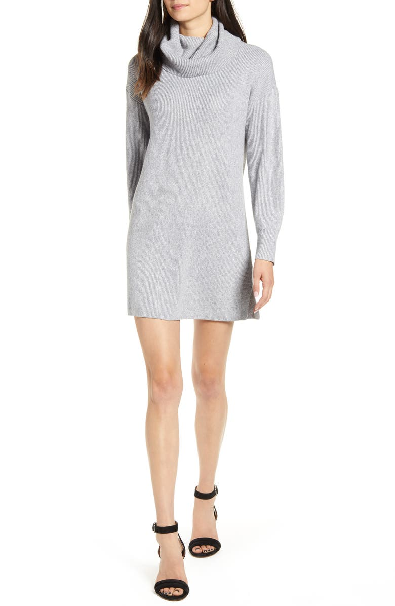 CUPCAKES AND CASHMERE Kiara Turtleneck Sweater Dress, Main, color, HEATHER GREY