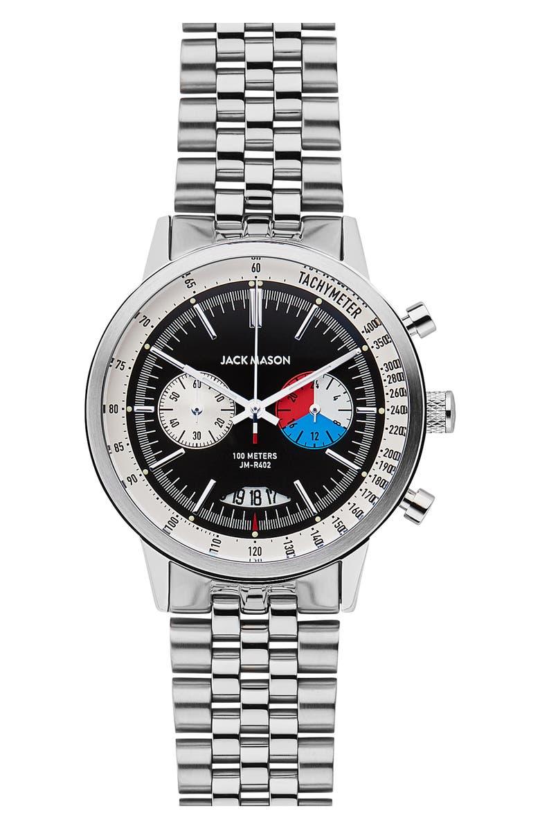 JACK MASON Racing Chronograph Bracelet Watch, 40mm, Main, color, 001