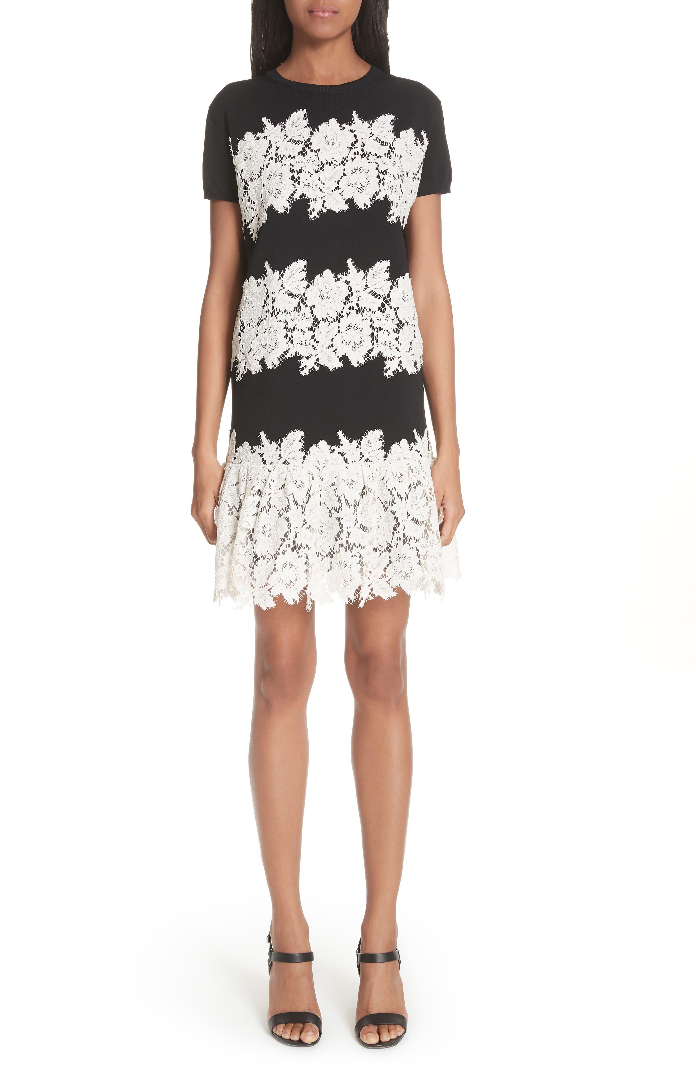 Valentino Lace Trim Knit Dress, Black