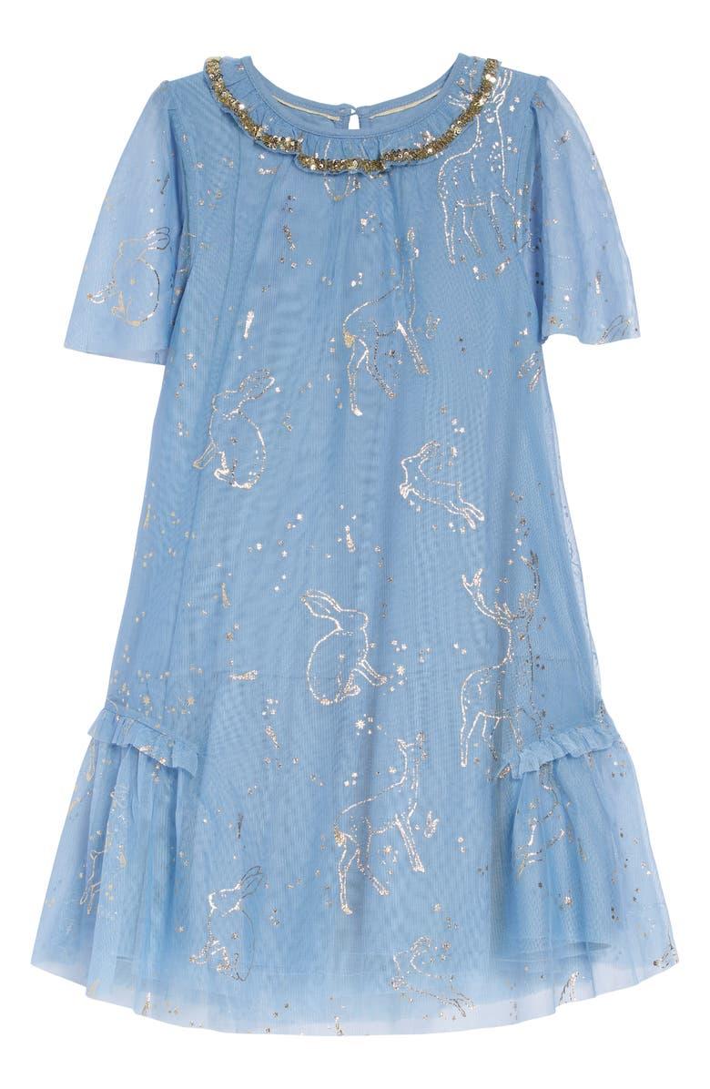 MINI BODEN Harry Potter Patronus Party Dress, Main, color, MIST BLUE