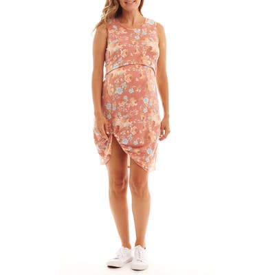 Everly Grey Marta Floral Maternity/nursing Dress, Orange