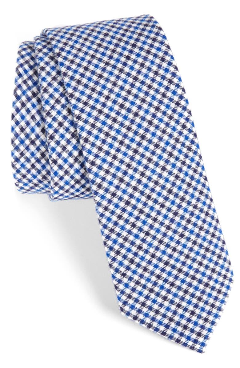 1901 Plaid Cotton Tie, Main, color, BLUE