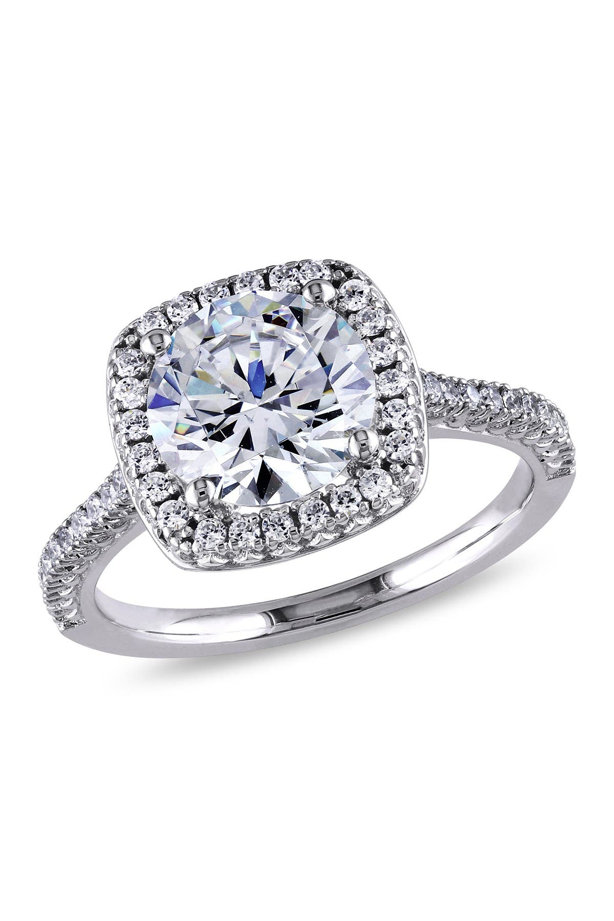 Image of Delmar Sterling Silver CZ Cushion Halo Ring