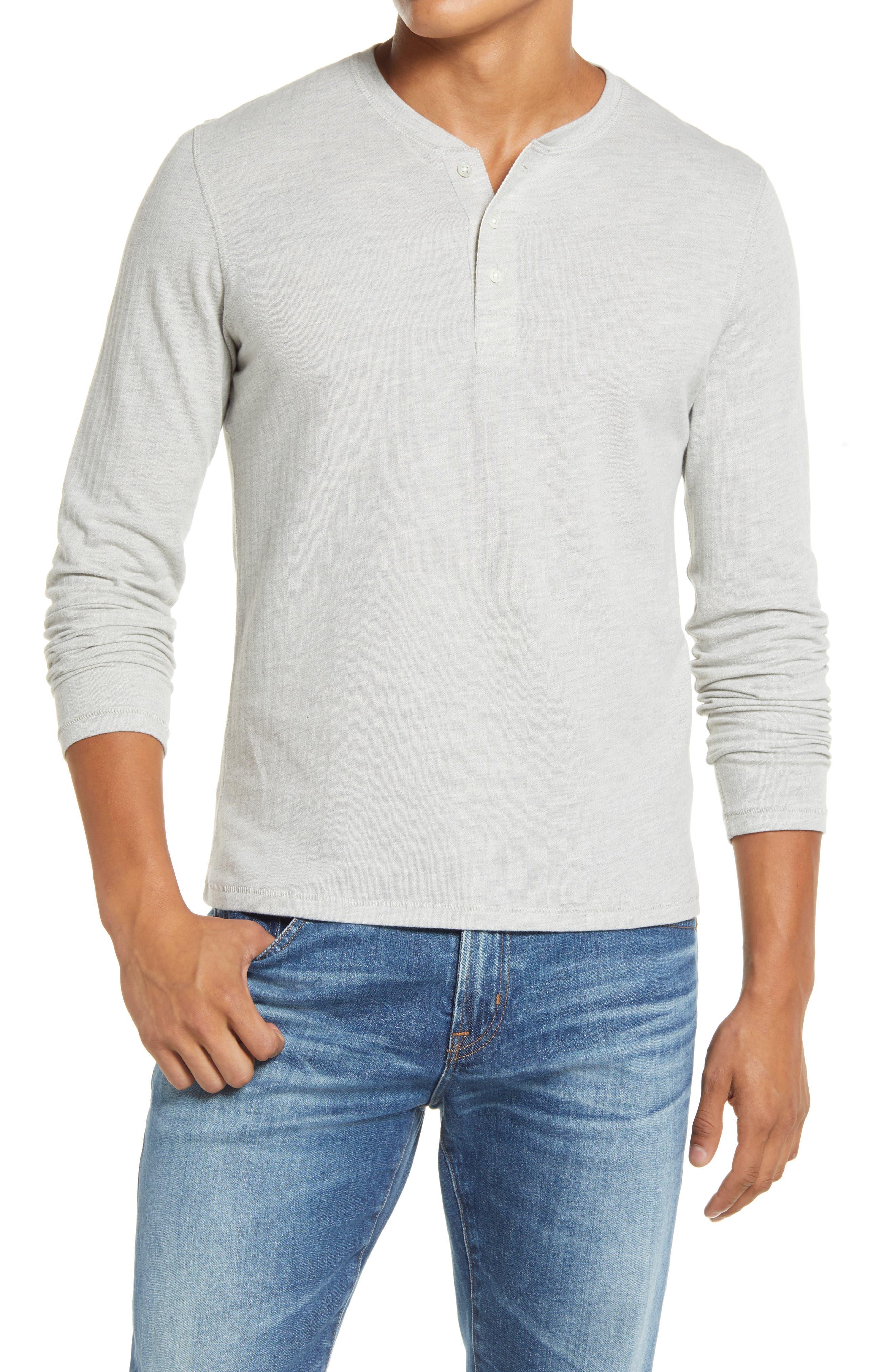 Herringbone Terry Long Sleeve Henley T-Shirt