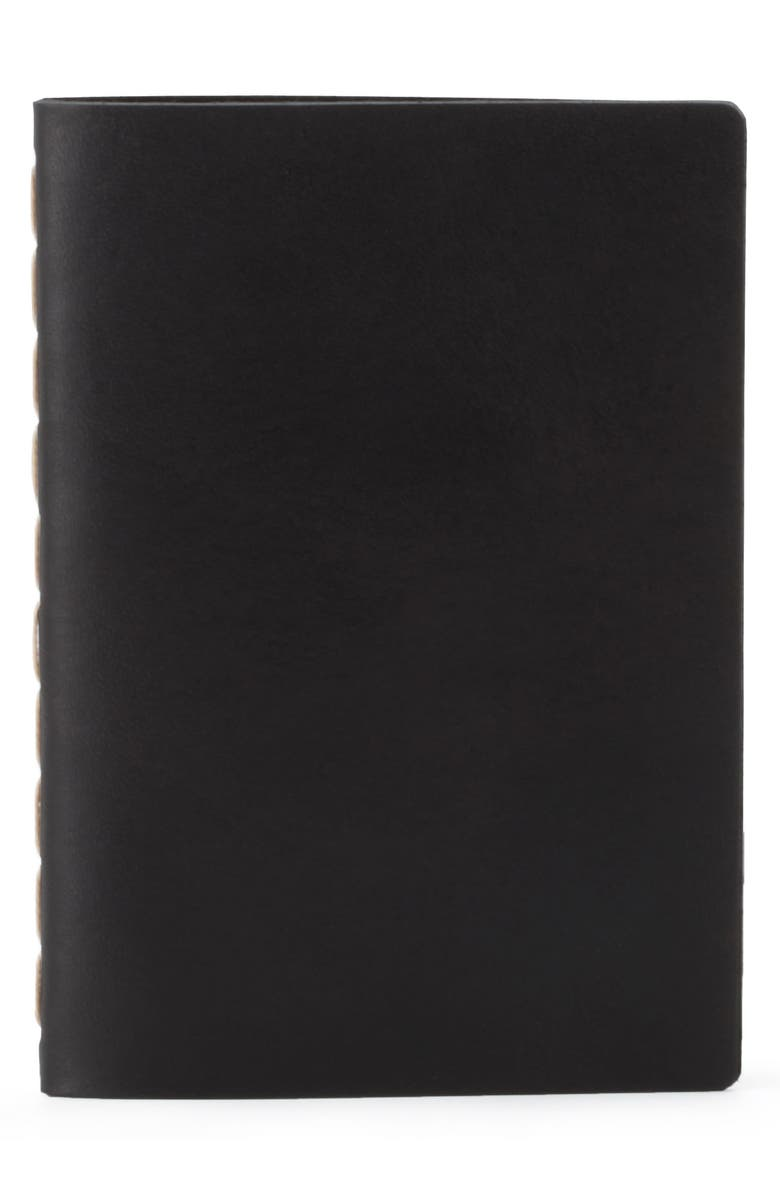 EZRA ARTHUR Small Leather Notebook, Main, color, JET TOP STITCH