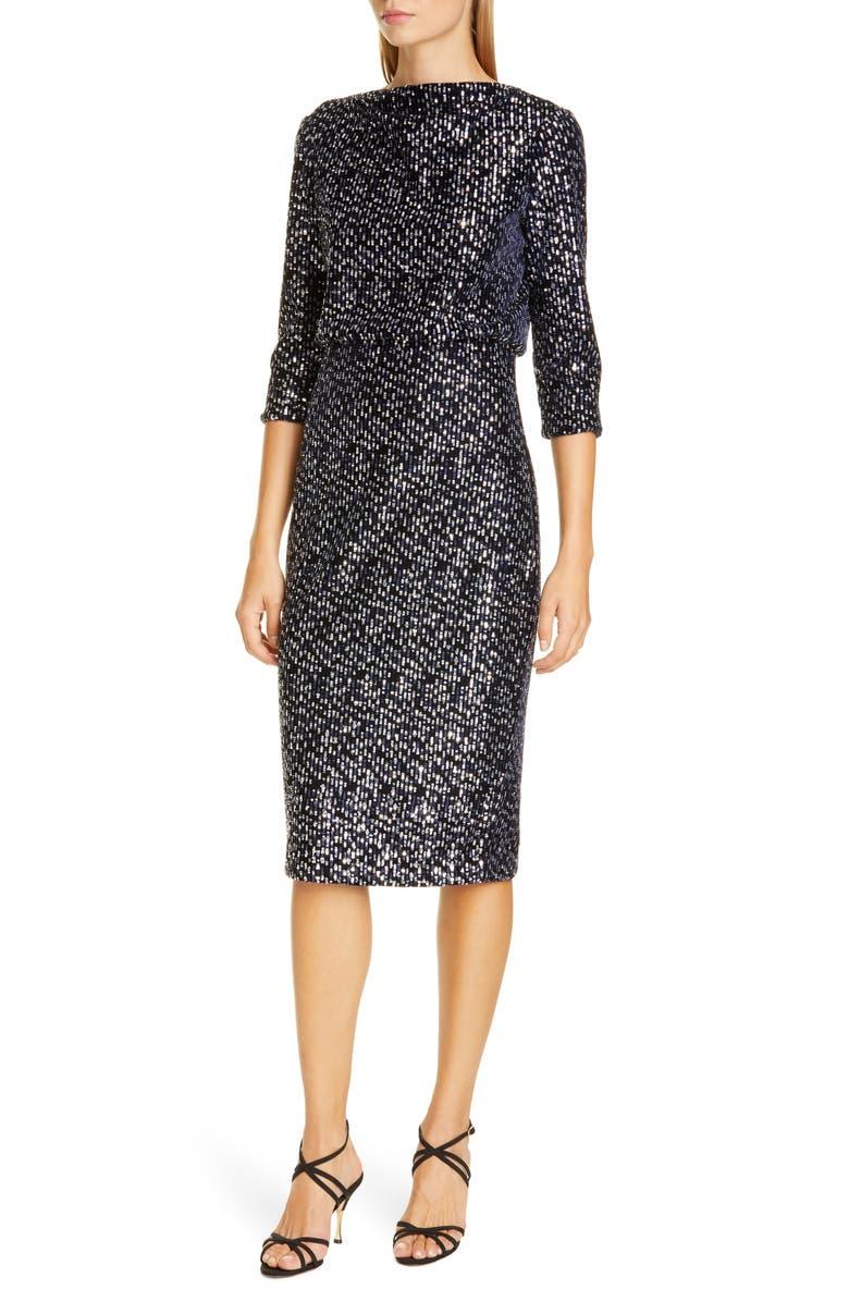 BADGLEY MISCHKA COLLECTION Badgley Mischka Sequin Embellished Blouson Evening Dress, Main, color, NAVY/ SILVER