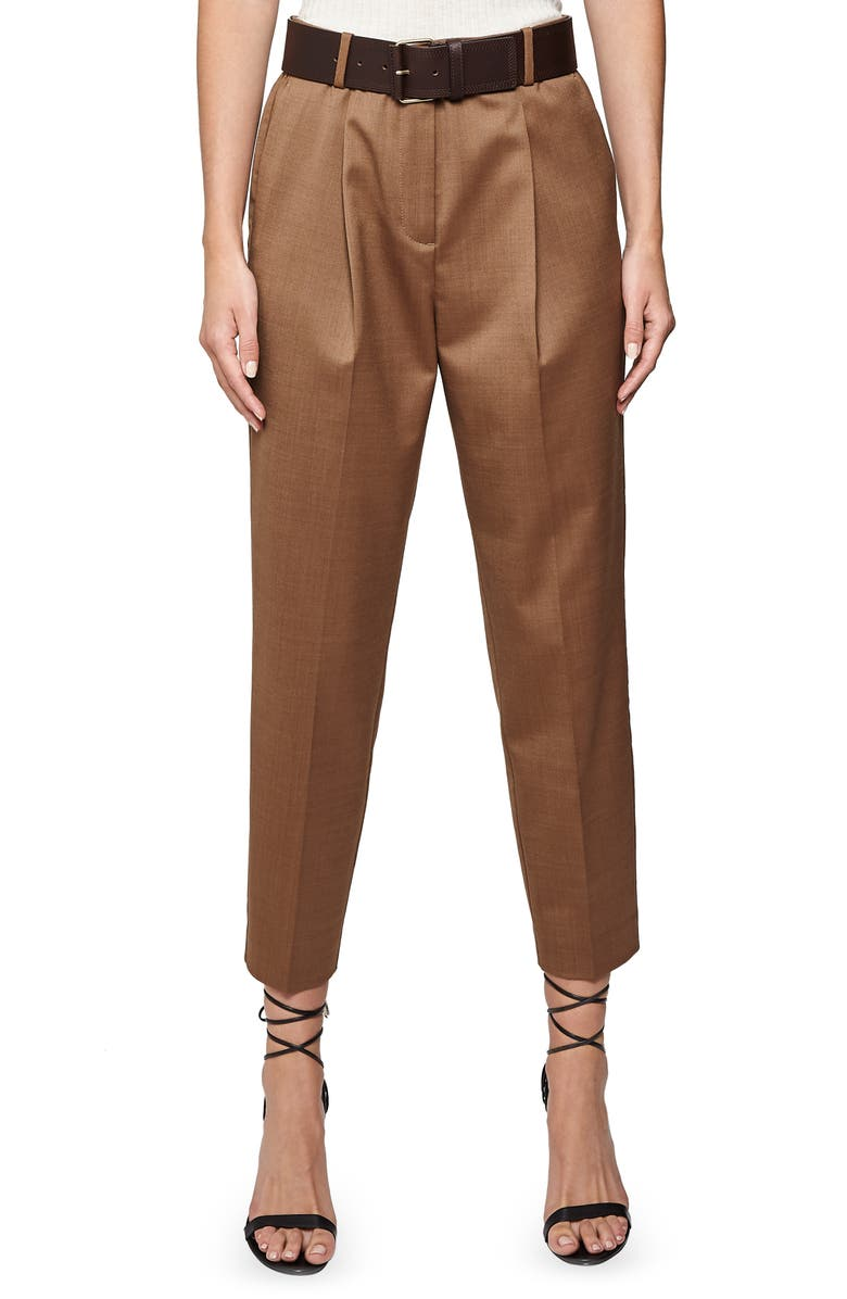 REISS Quinne Boyfriend Tapered Trousers, Main, color, CAMEL