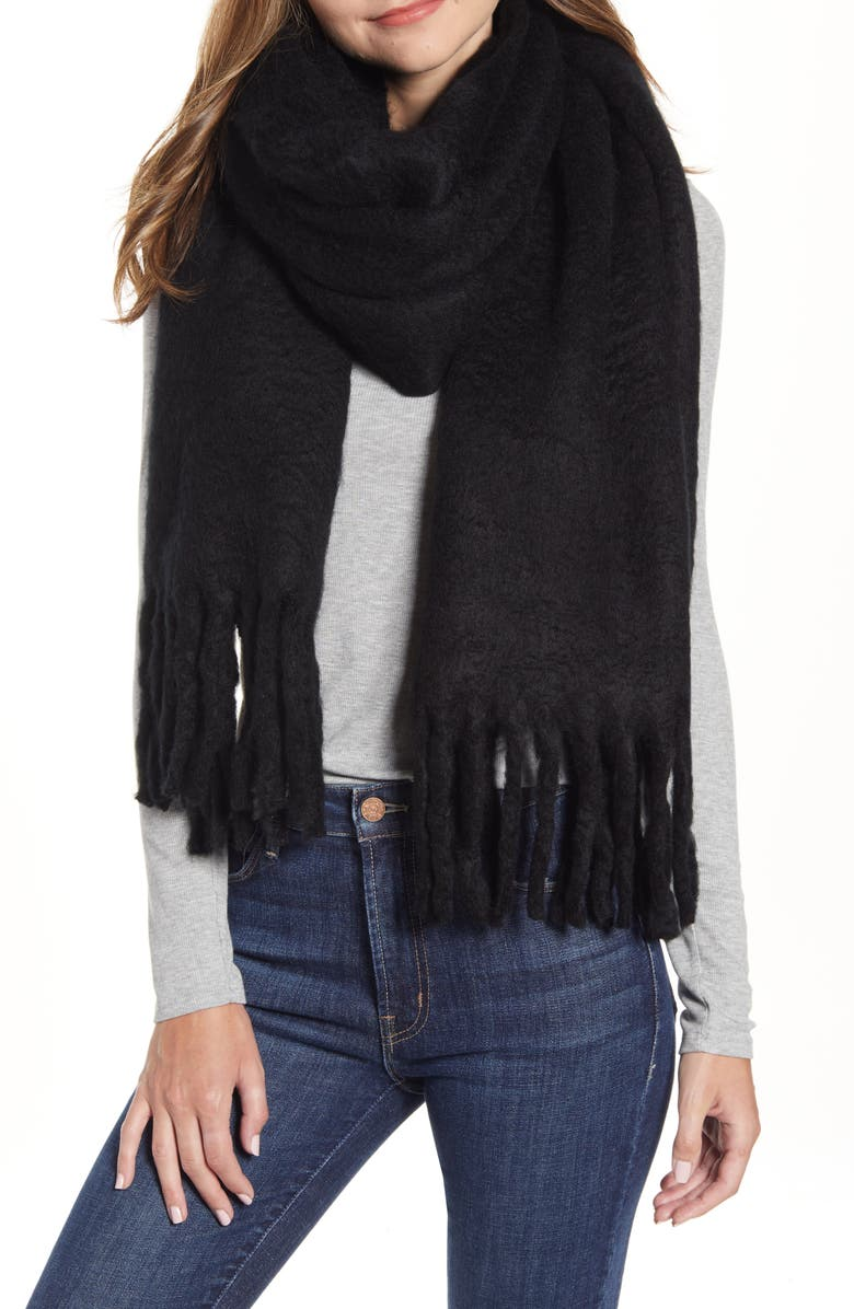 REBECCA MINKOFF Woven Blanket Scarf, Main, color, BLACK