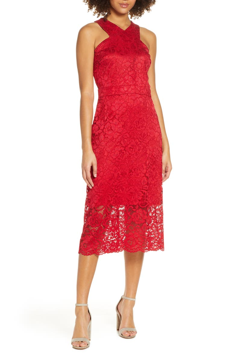 SAM EDELMAN Lace Midi Dress, Main, color, RED