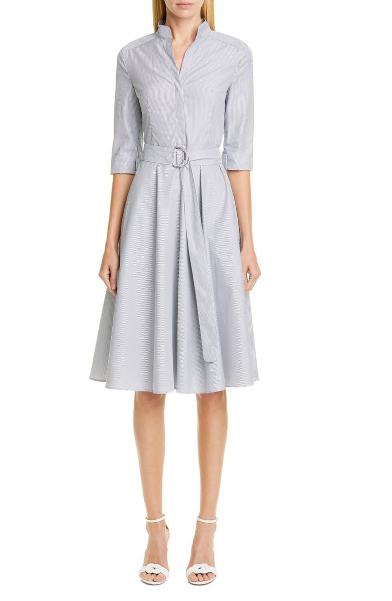 AKRIS PUNTO Stripe Poplin Midi Shirtdress, Main, color, DARK DENIM/ CREAM