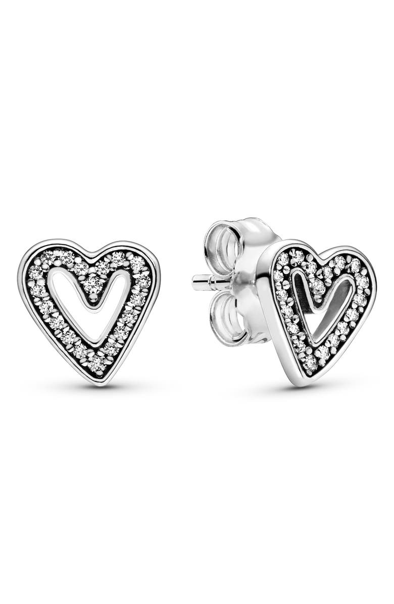 PANDORA Sparkling Freehand Heart Stud Earrings, Main, color, 040