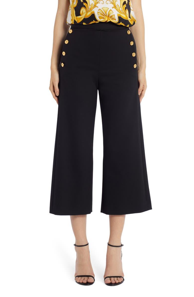 VERSACE Medusa Button Stretch Wool Crop Wide Leg Pants, Main, color, BLACK
