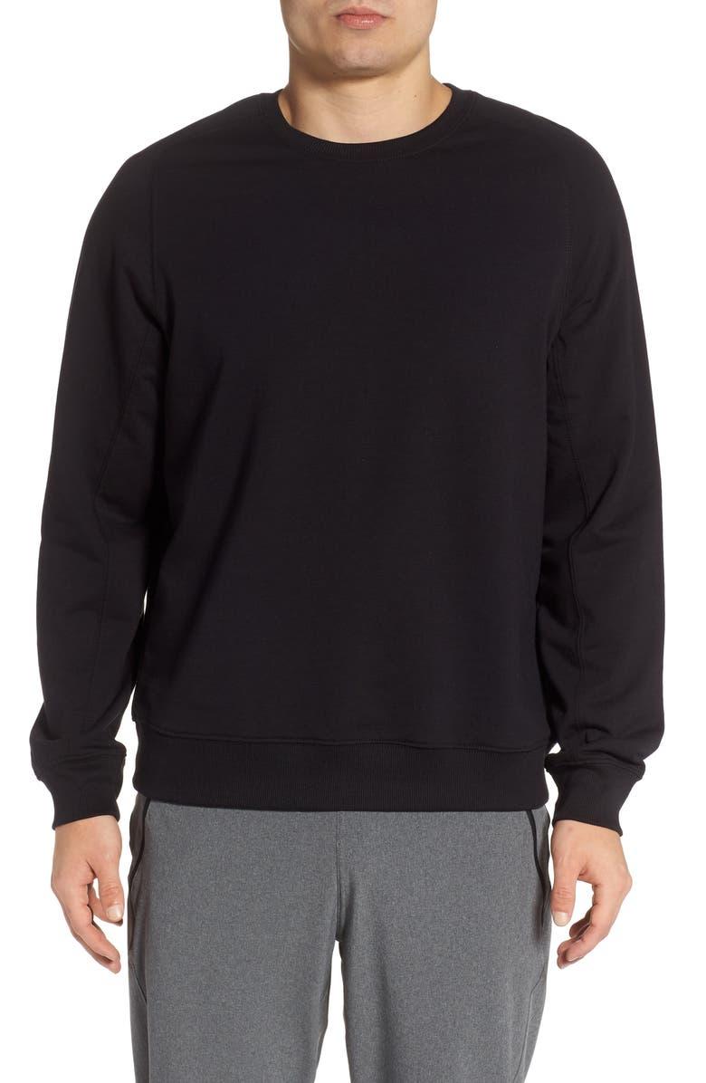 ZELLA Crewneck Fleece Sweatshirt, Main, color, BLACK