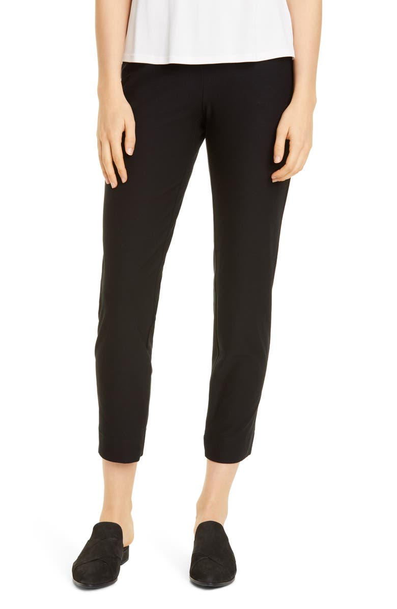 EILEEN FISHER Slim Ankle Pants, Main, color, BLACK