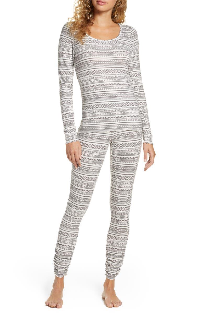 BP. Hacci Fitted Pajamas, Main, color, GREY KITTEN FALL FAIRISLE