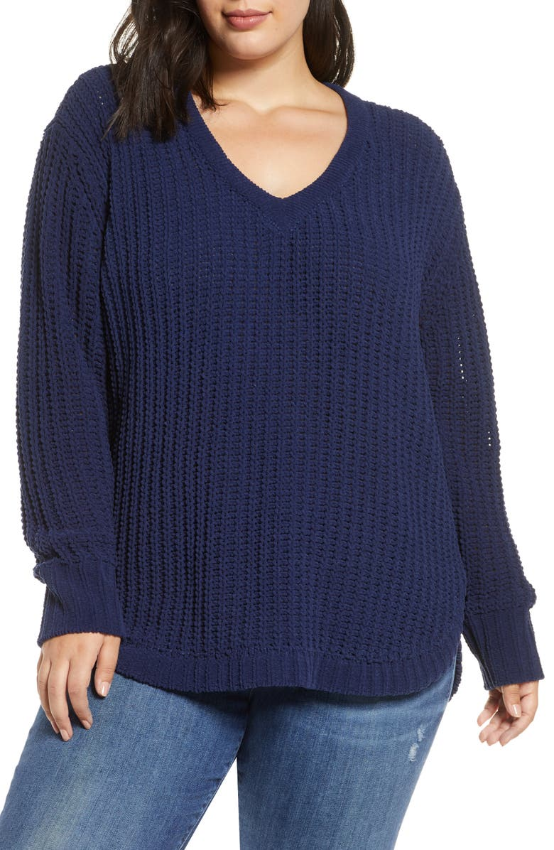 CASLON<SUP>®</SUP> Chenille V-Neck Sweater, Main, color, NAVY PEACOAT