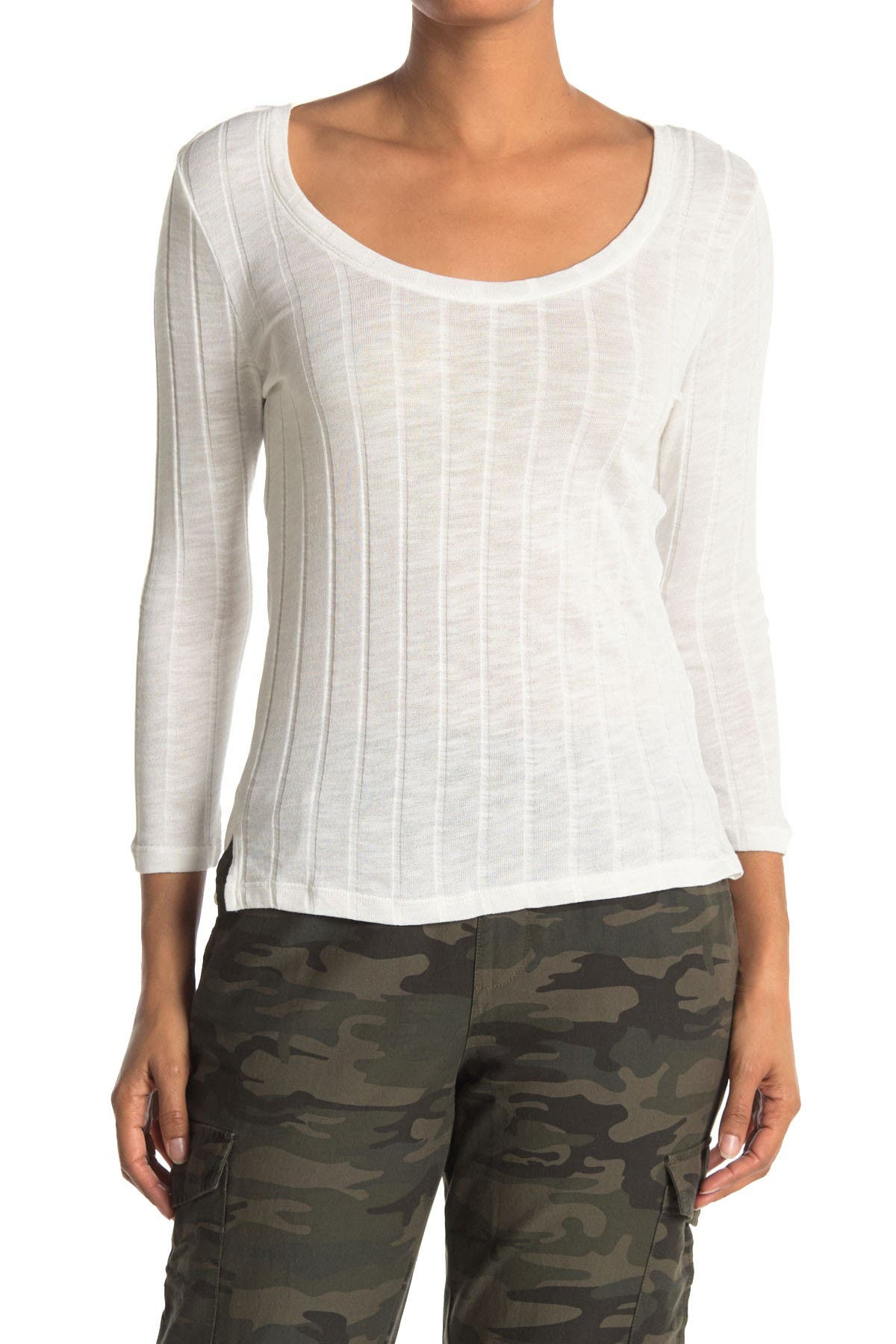 Image of Sanctuary 3/4 Sleeve Ribbed Scoop T-Shirt