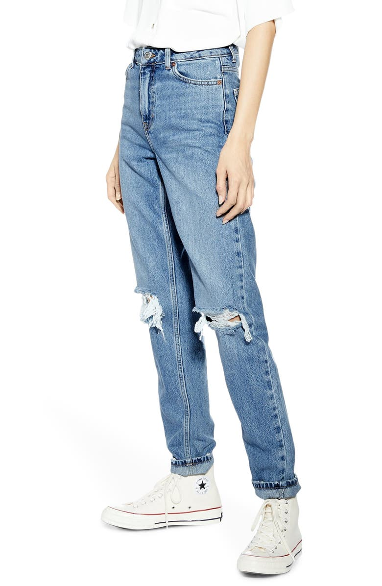 TOPSHOP High Waist Ripped Knee Jeans, Main, color, MID DENIM