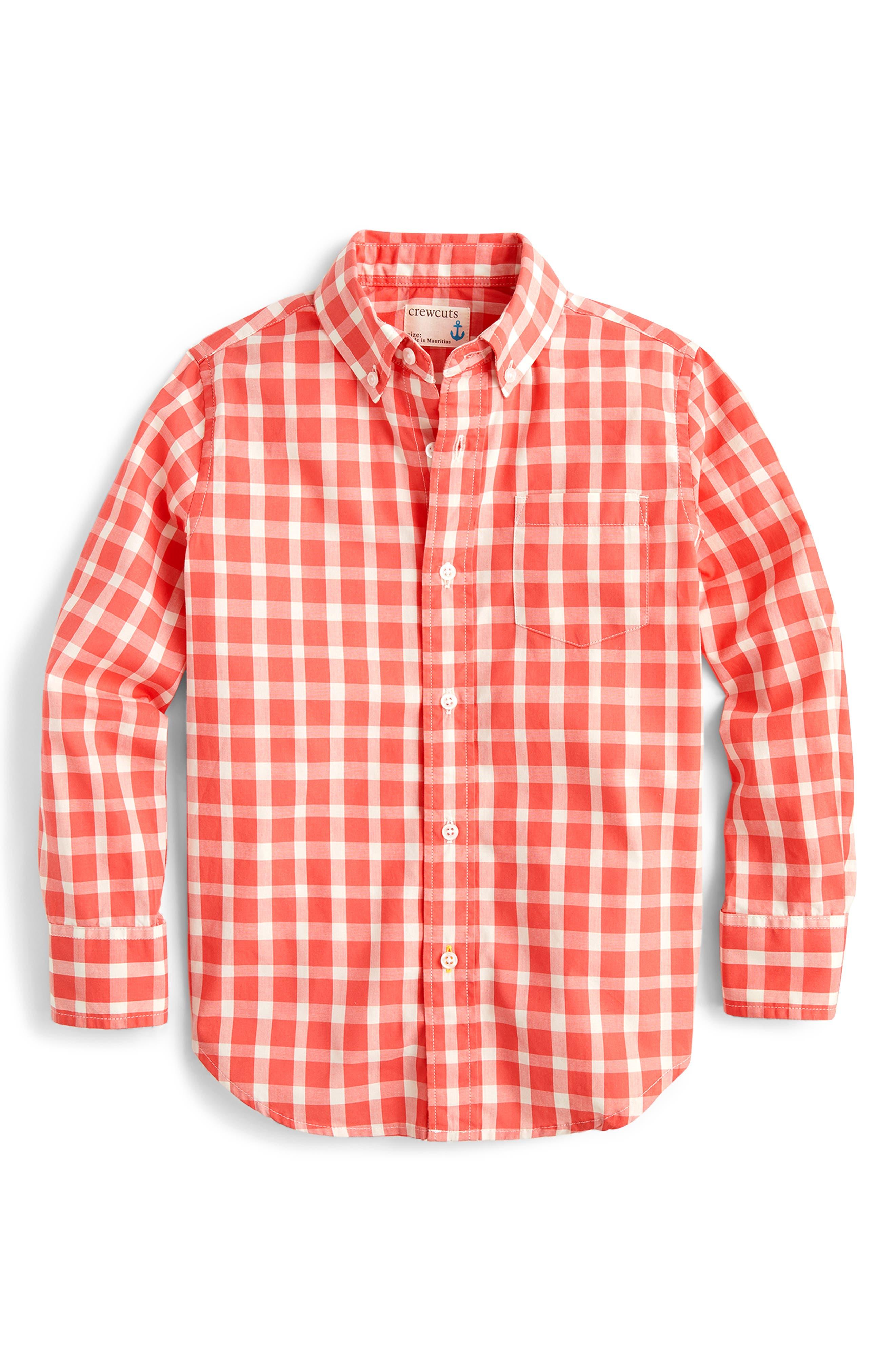 Boys Crewcuts By Jcrew Gingham Stretch Poplin ButtonDown Shirt Size 67  Red