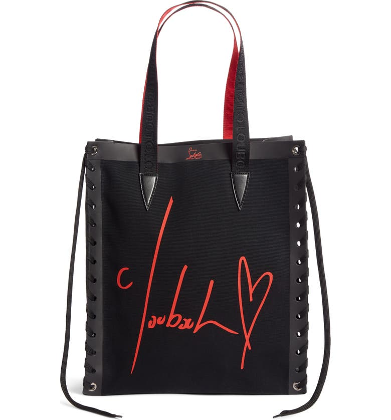 CHRISTIAN LOUBOUTIN Small Cabalace Canvas & Leather Tote, Main, color, 001