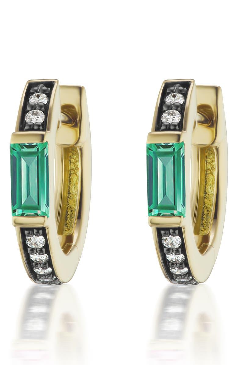 SORELLINA Gemstone & Diamond Huggie Hoop Earrings, Main, color, YELLOW GOLD - EMERALD
