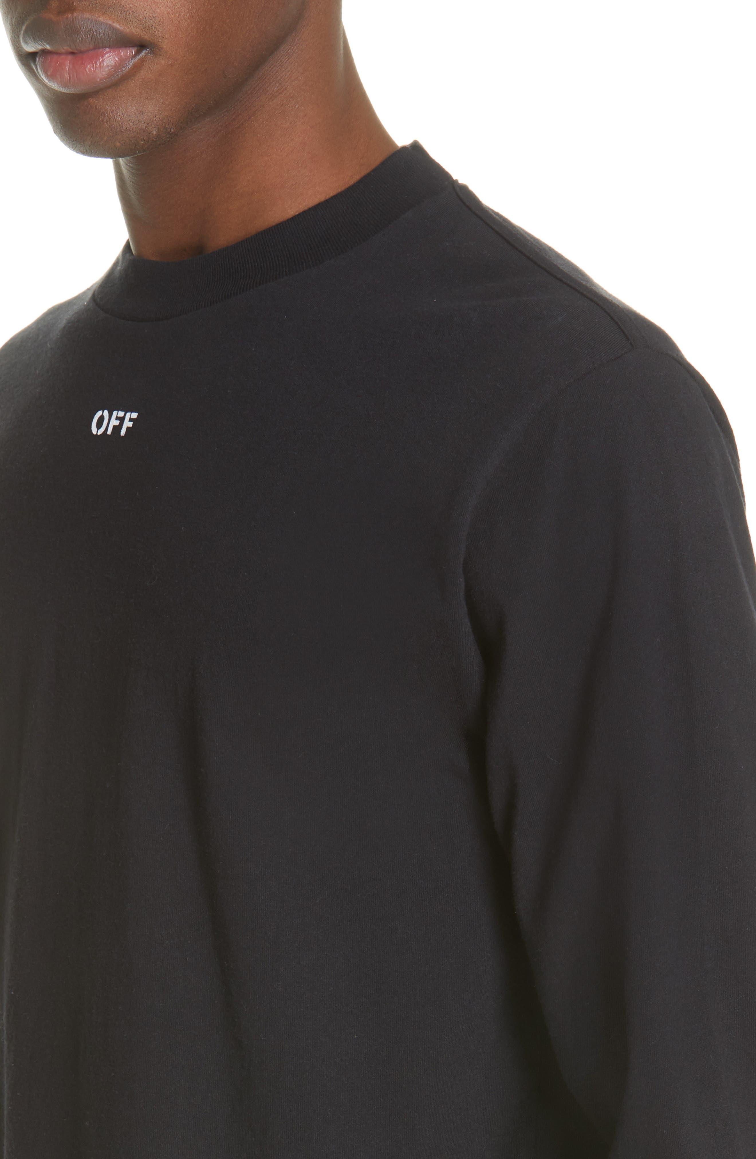 ,                             Diagonal Skull Graphic Mock Neck T-Shirt,                             Alternate thumbnail 4, color,                             001