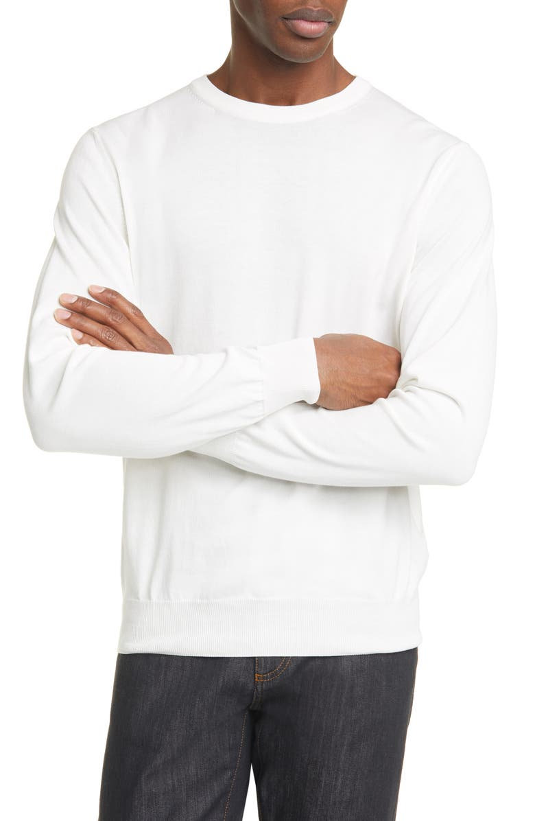 CANALI Classic Fit Cotton Crewneck Sweater, Main, color, 100