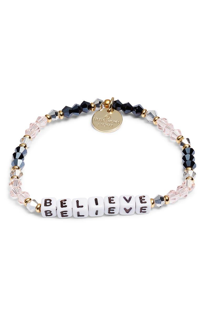 LITTLE WORDS PROJECT Believe Bracelet, Main, color, BELLE PINK/ WHITE