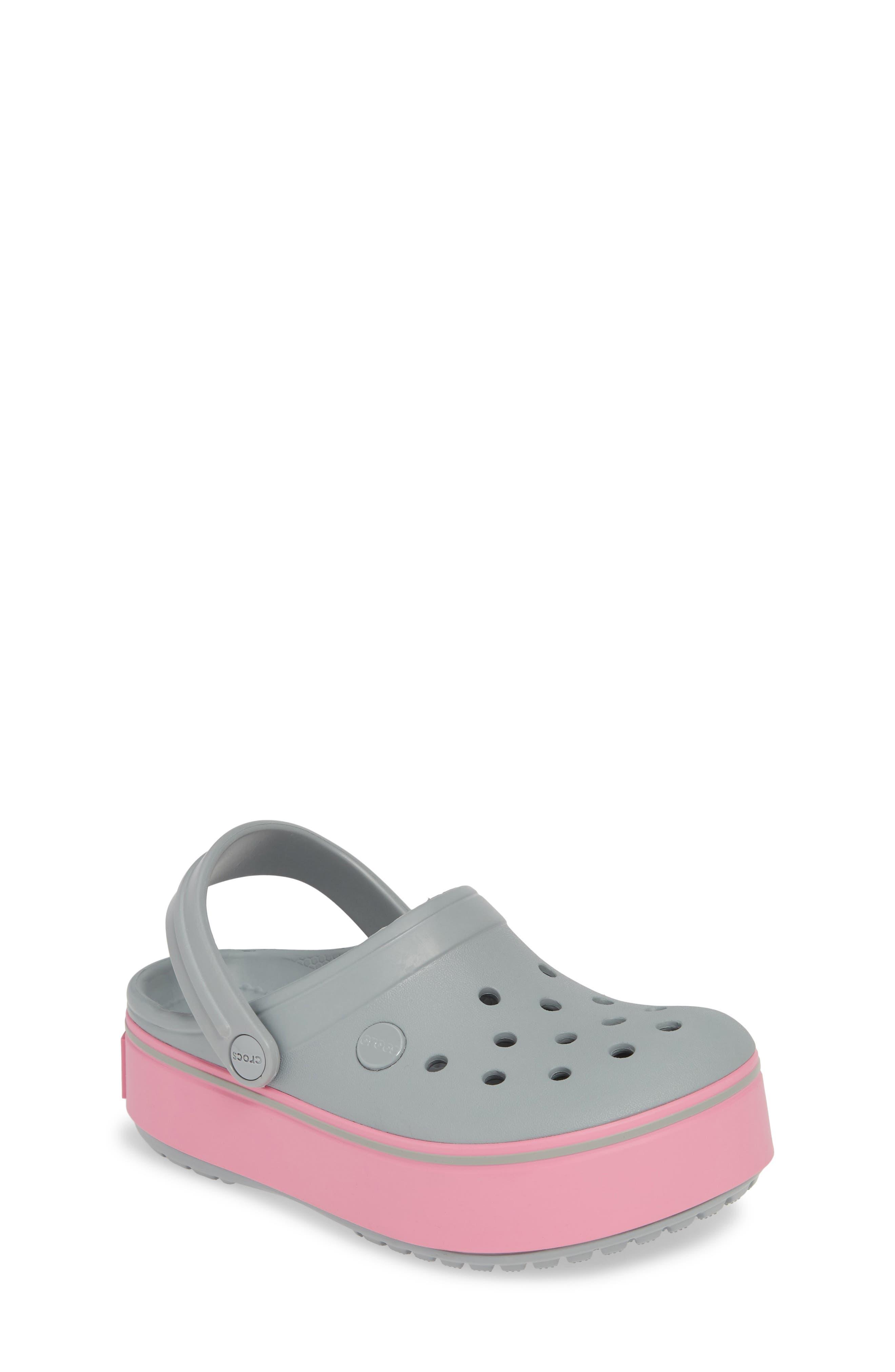 Girls Crocs(TM) Crocband Platform Clog Size 2 M  Grey
