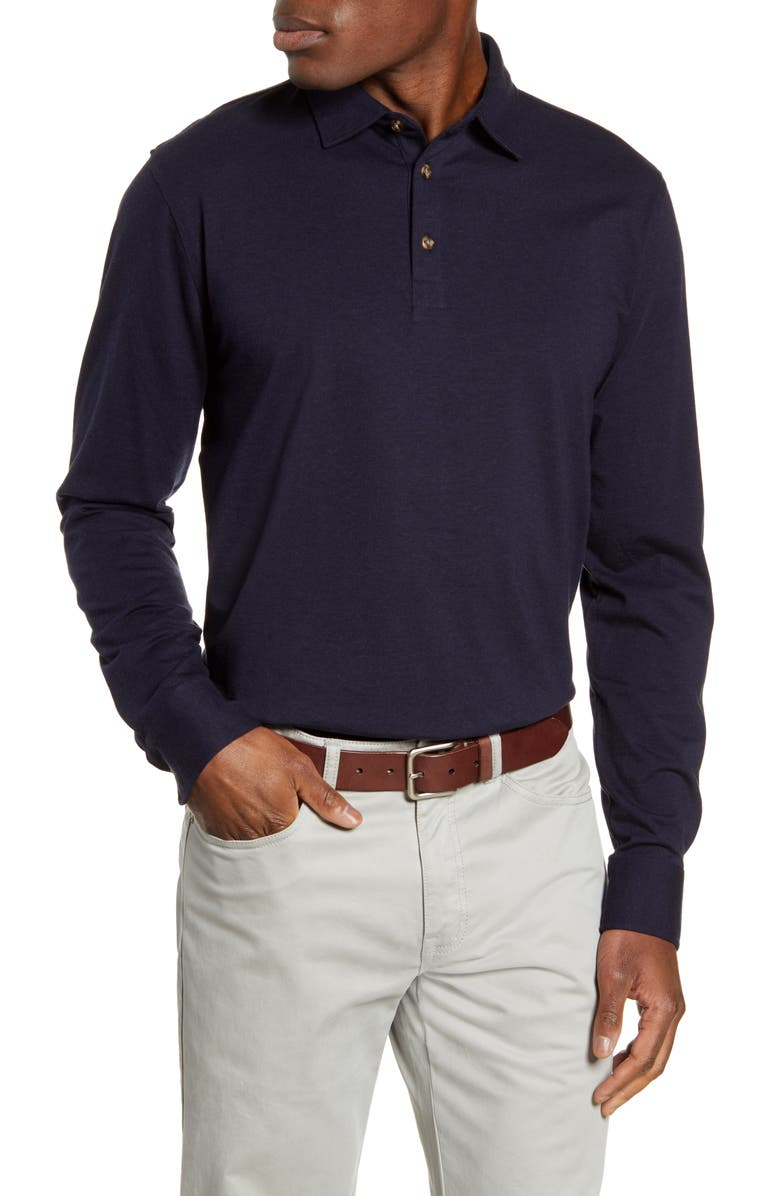 Crown Fleece Long Sleeve Stretch Cotton & Cashmere Polo by Peter Millar