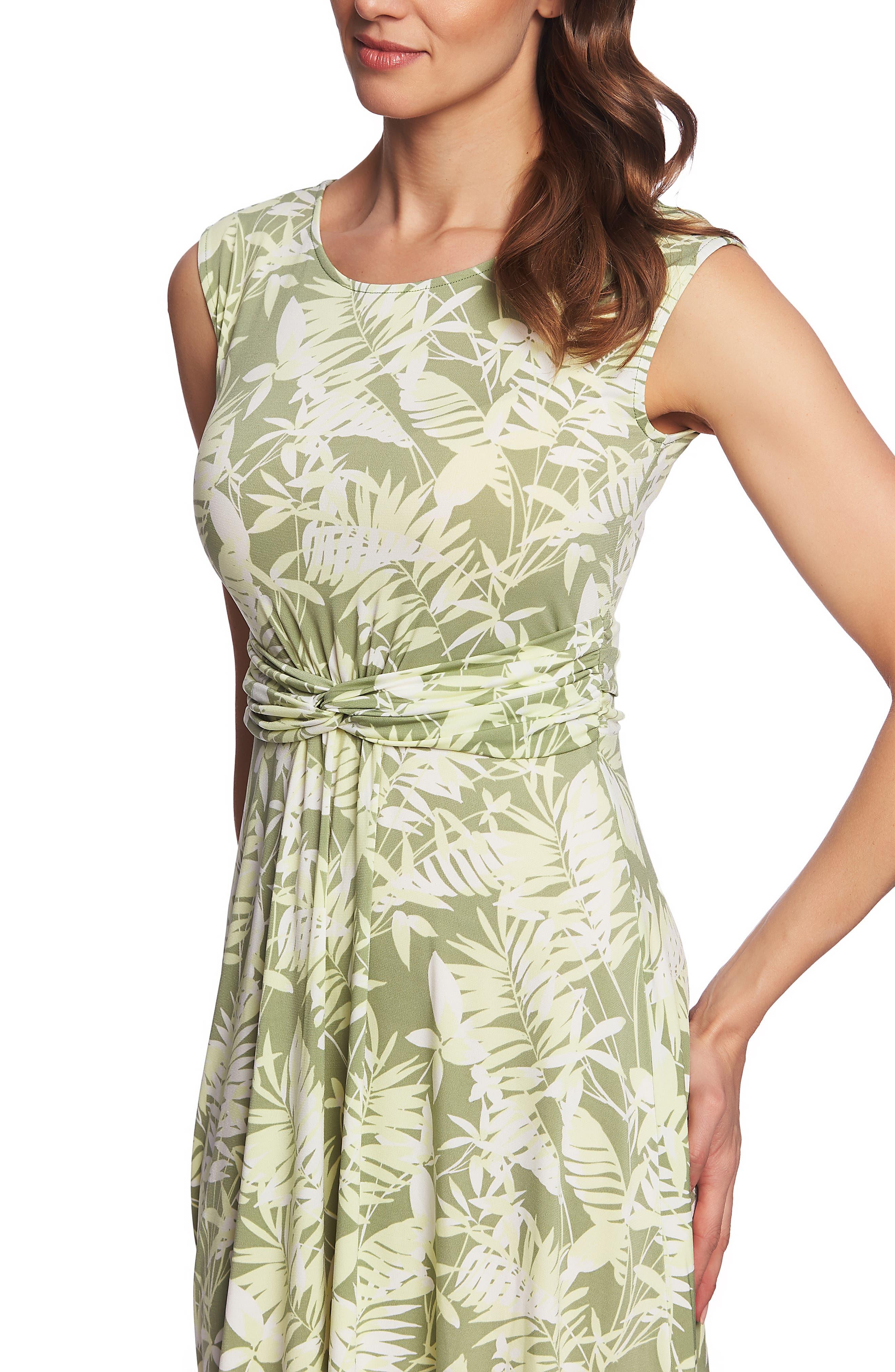,                             Tropical Foliage Tie Waist Dress,                             Alternate thumbnail 4, color,                             CITRUS PEEL