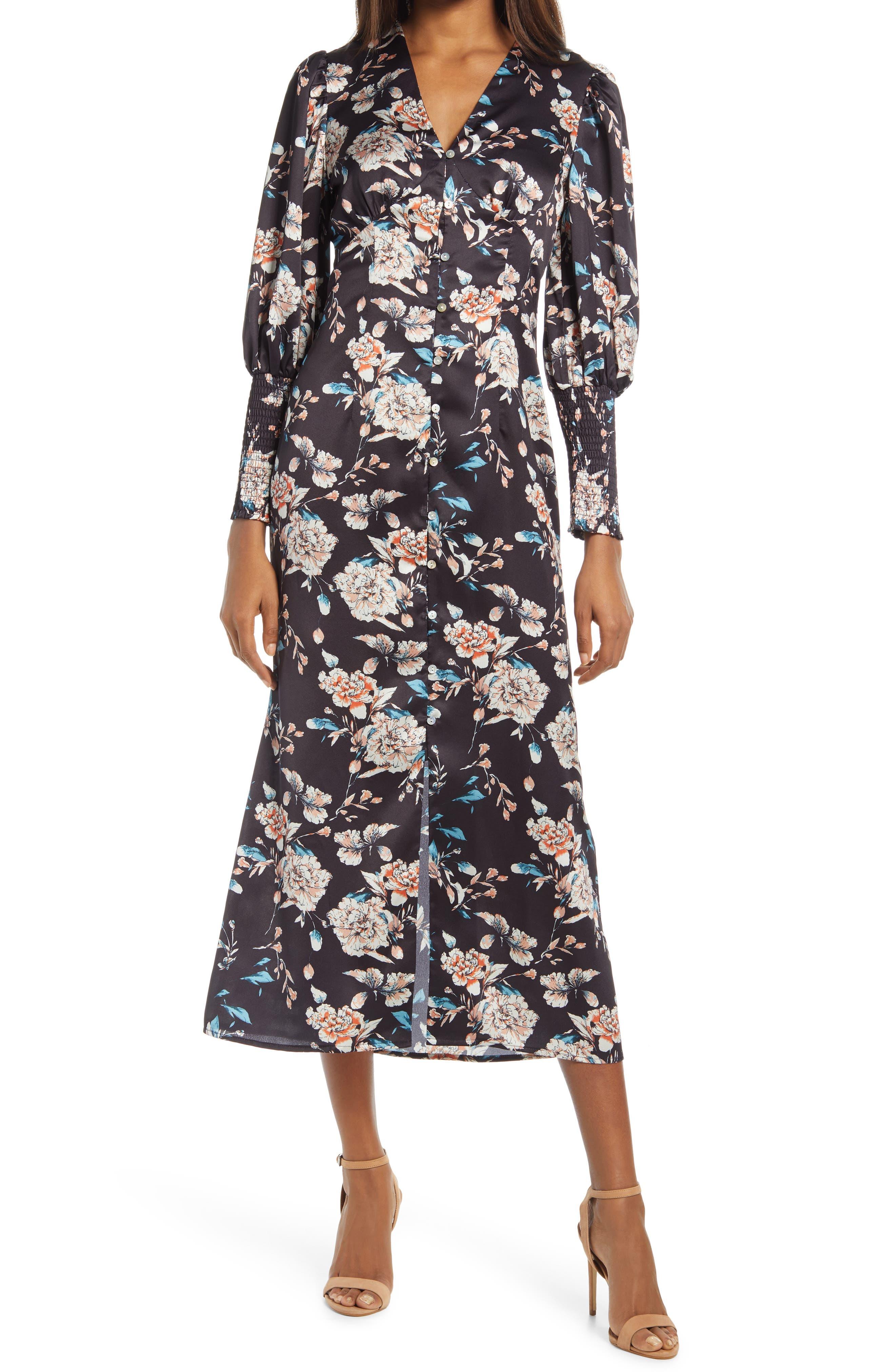 Shawnia Floral Satin Long Sleeve Midi Dress