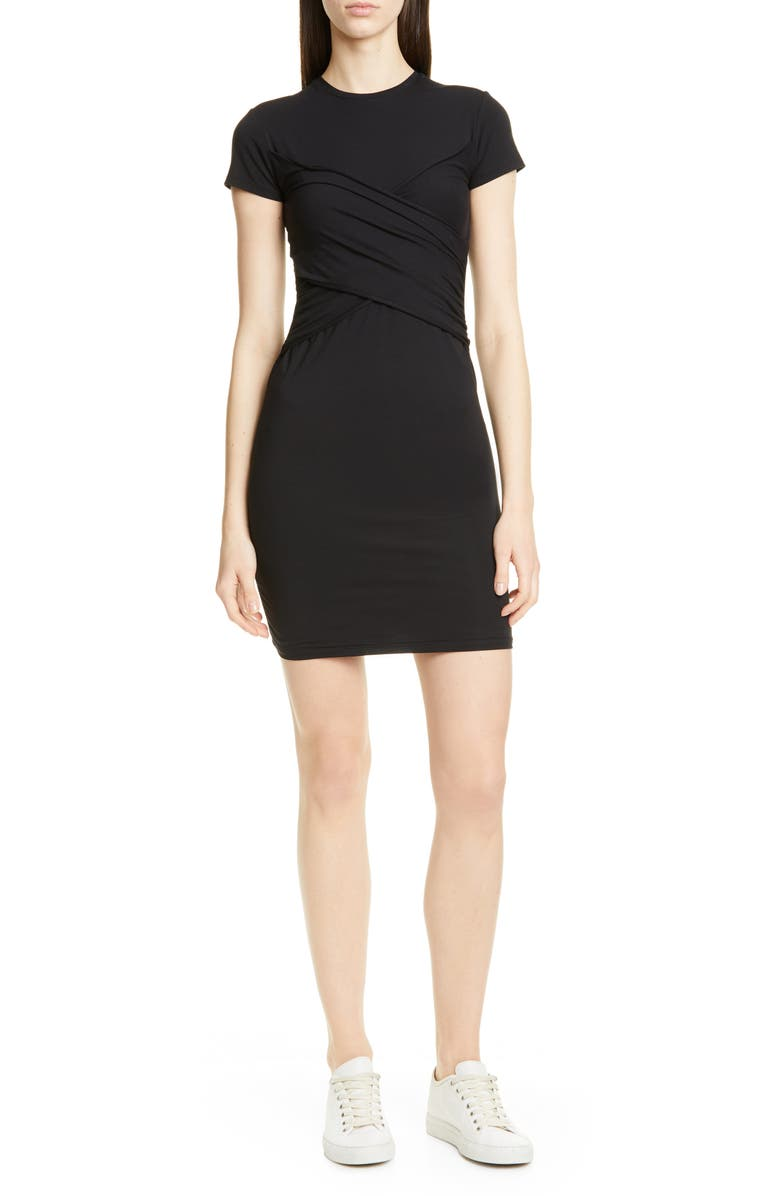 ATM ANTHONY THOMAS MELILLO Stripe Jersey T-Shirt Dress, Main, color, BLACK
