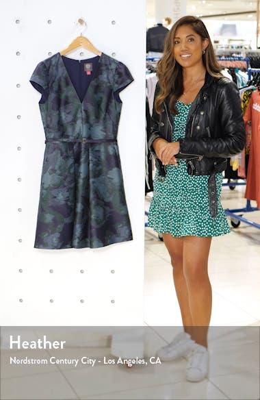 Cap Sleeve Jacquard Fit & Flare Dress, sales video thumbnail