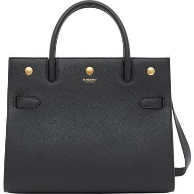 Burberry Medium Title Grainy Leather Bag - Black