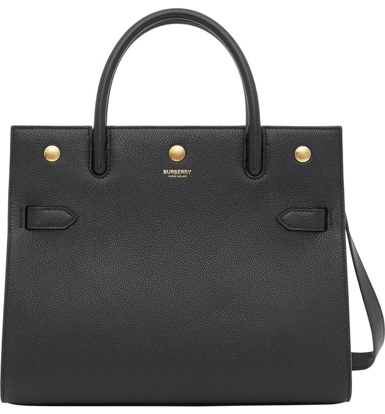 BURBERRY Medium Title Grainy Leather Bag, Main, color, BLACK