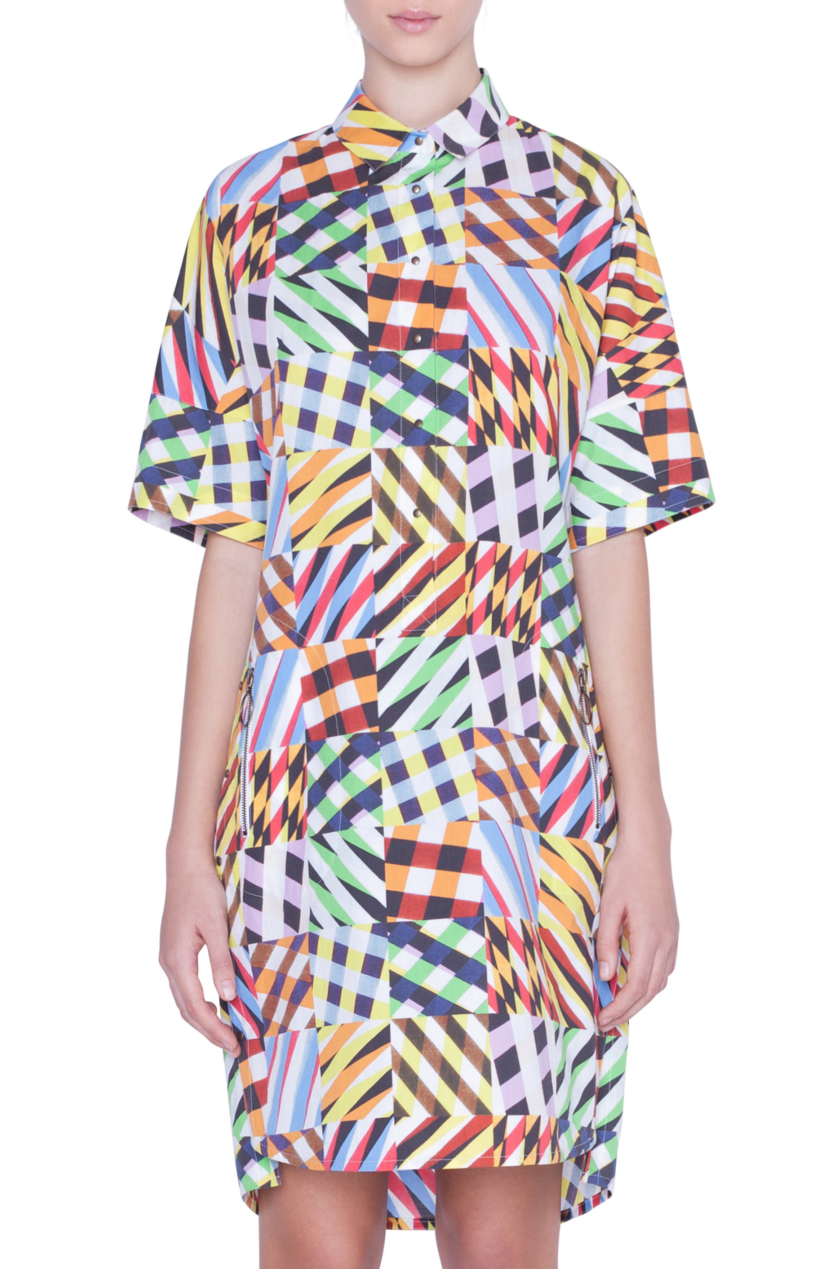 Akris Punto Patchwork Print Tunic Dress, Yellow