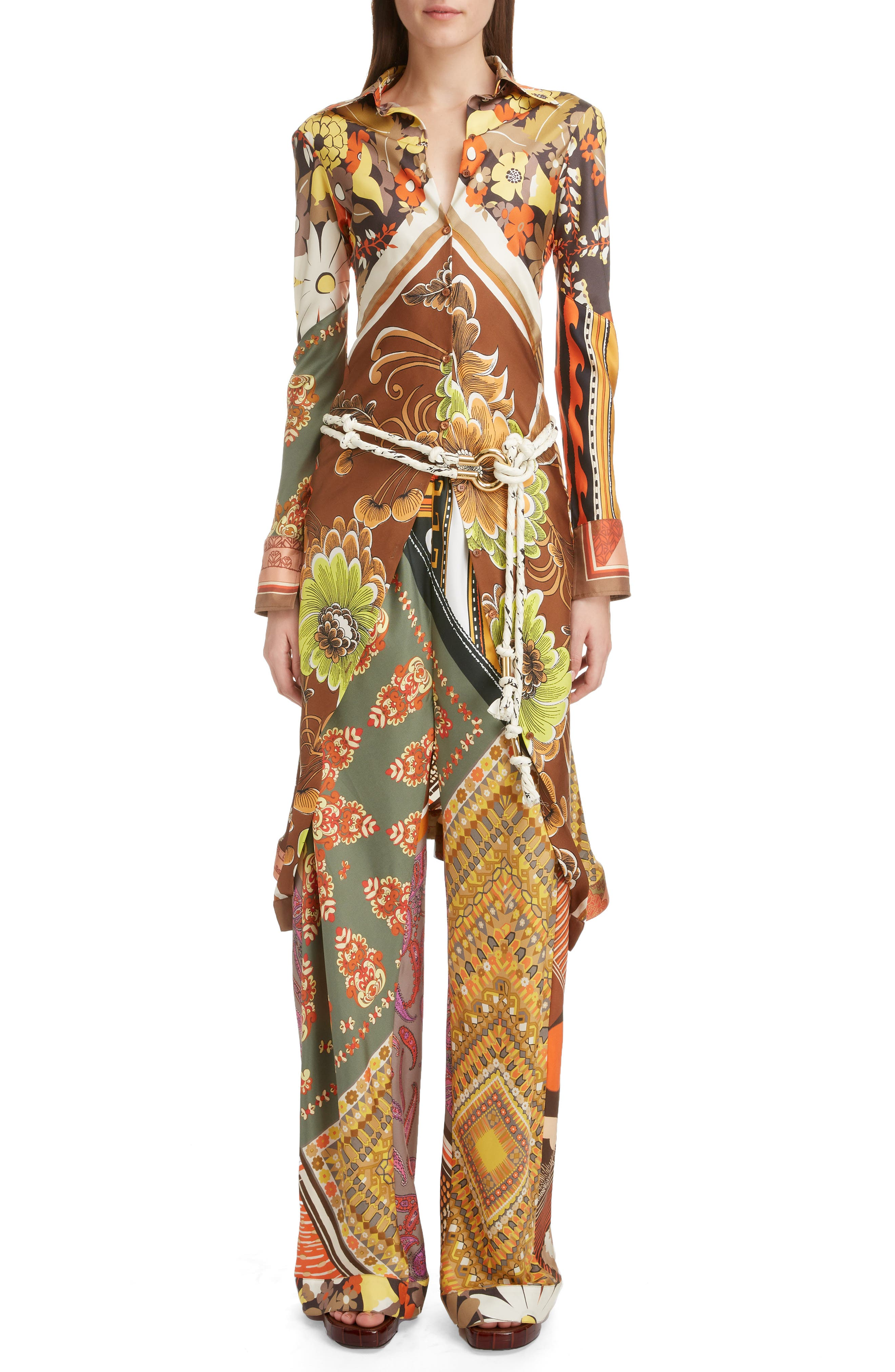 ,                             Caravan Print Silk Tunic Shirt,                             Alternate thumbnail 6, color,                             MULTICOLOR ORANGE