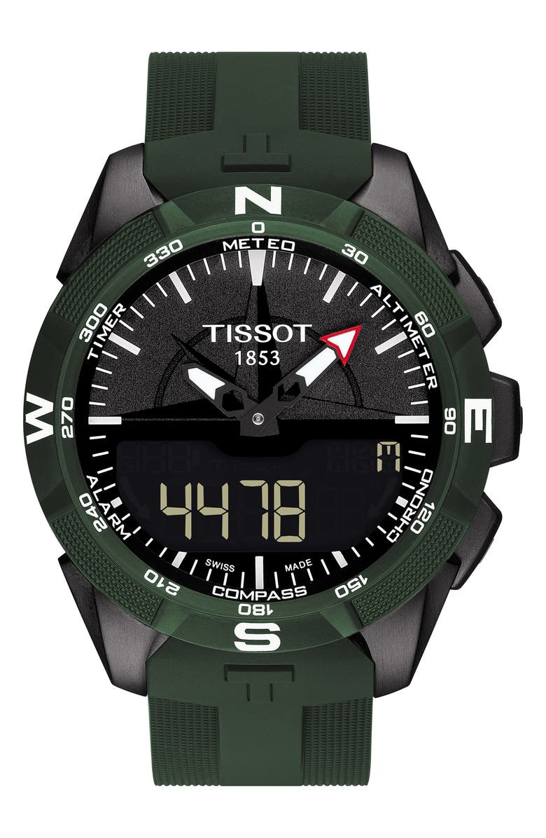 TISSOT T-Touch Expert Solar Multifunction Smartwatch, 45mm, Main, color, GREEN/ BLACK