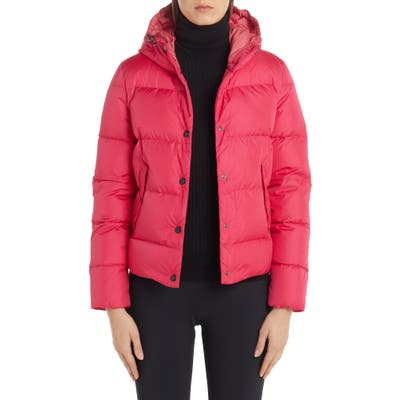 Moncler Lena Hooded Down Puffer Jacket, (fits like 6-8 US) - Pink