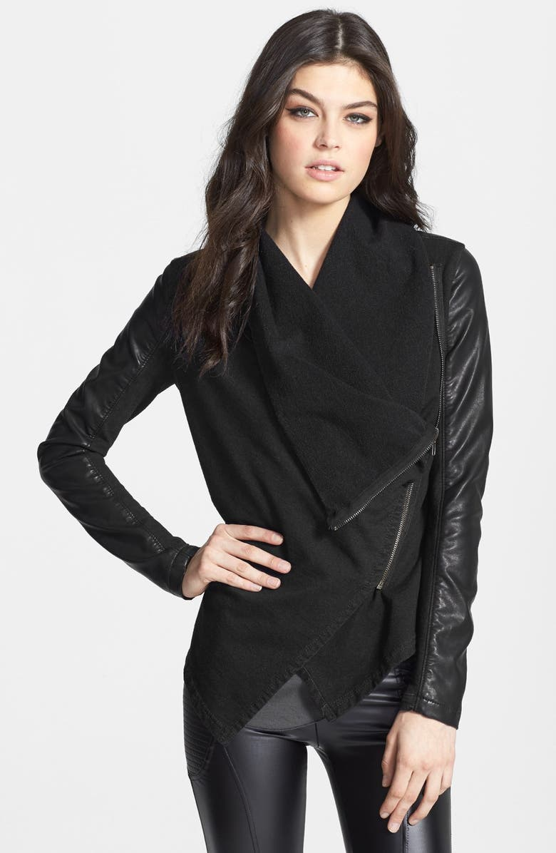 BLANKNYC 'Private Practice' Drape Front Mixed Media Jacket, Main, color, 001