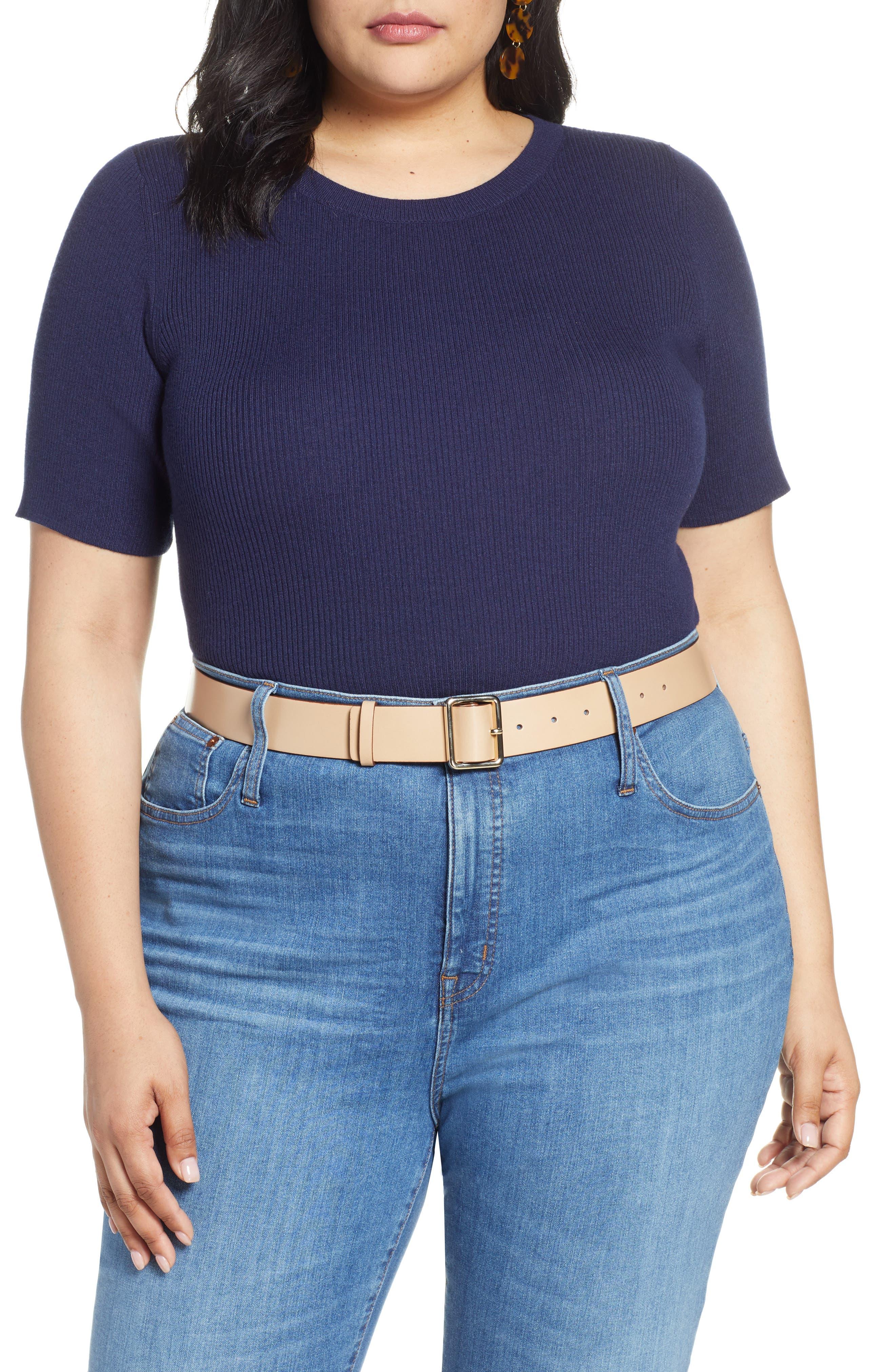 Plus Size Halogen Skivvy Short Sleeve Sweater, Blue